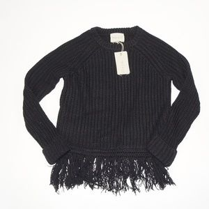 MOON RIVER Black Fringe Chunky Sweater